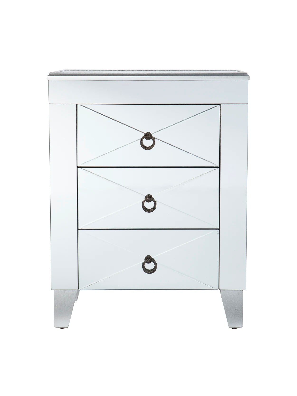 Sei Cresheim Mirrored End Table Silver Office Depot