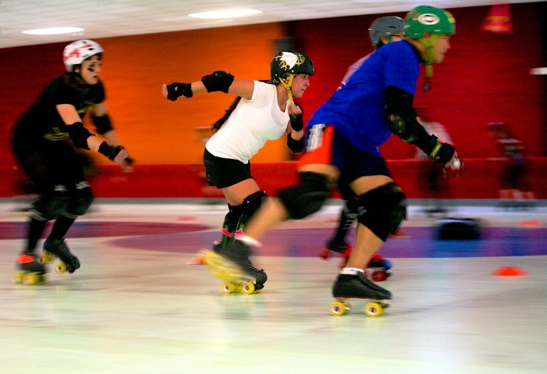 The hub city ladyhawks hillsboro s all women roller derby team practice on an early sunday morning at skate