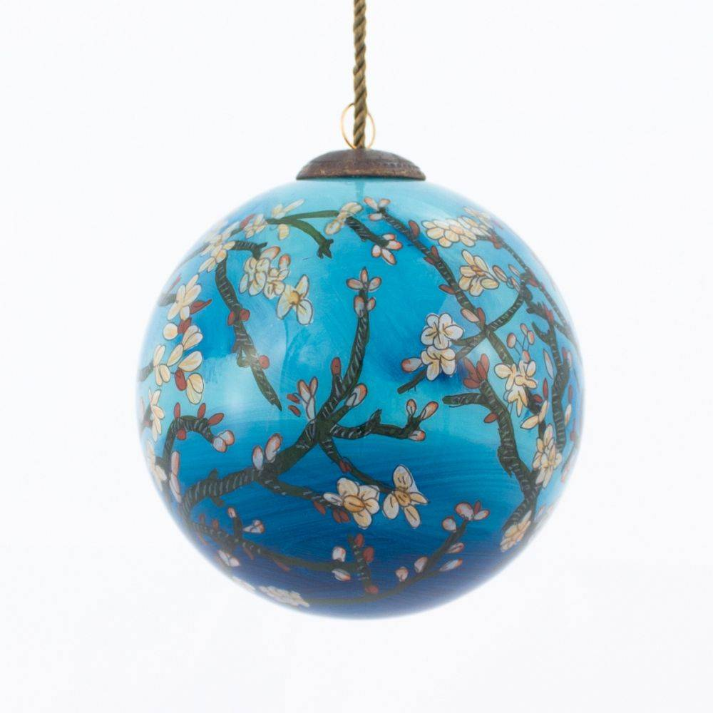 Van Gogh Branches Of An Almond Tree Glass Ornaments