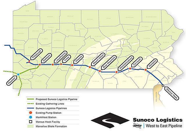 Sunoco Logistics Mariner East pipeline route Charts, Graphs - inventory supply list