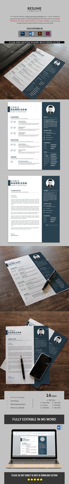121 best Resumes PSD images on Pinterest Resume templates - resume design