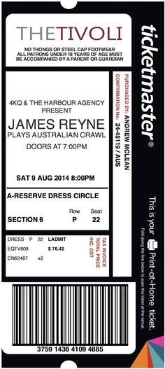 80 best Ticket Stubs images on Pinterest Ticket stubs, Brisbane - concert ticket birthday invitations