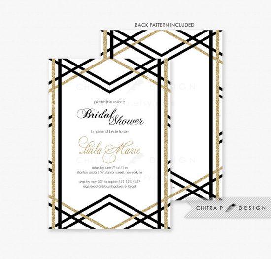 111 best CP Black White \ Gold images on Pinterest Bridal - diaper invitation