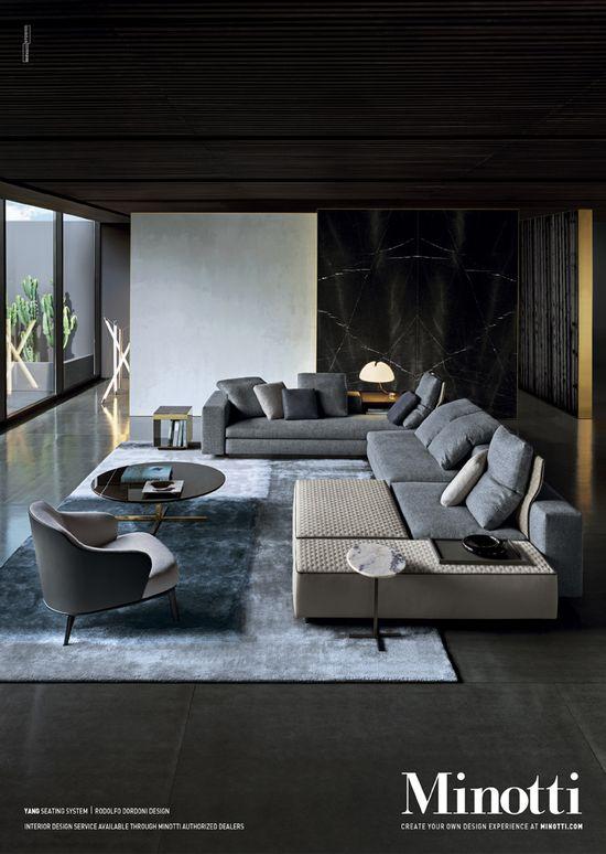 Design Wohnzimmer Couch. Wohnbereich-Farben-Schwarz-Weiß-Rot