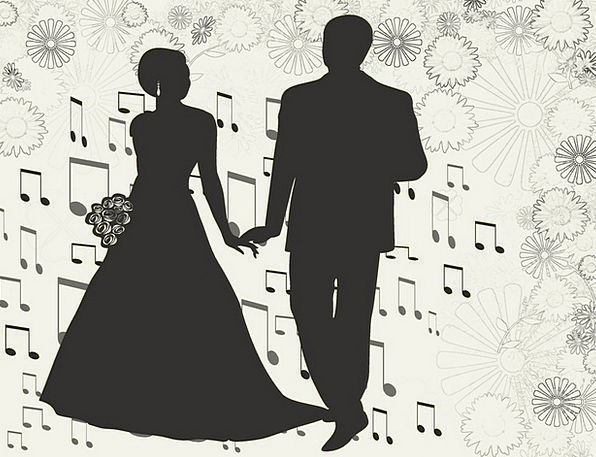 Wedding, Twosome, Music-Notes, Couple, Flowers, Love, Darling, Black