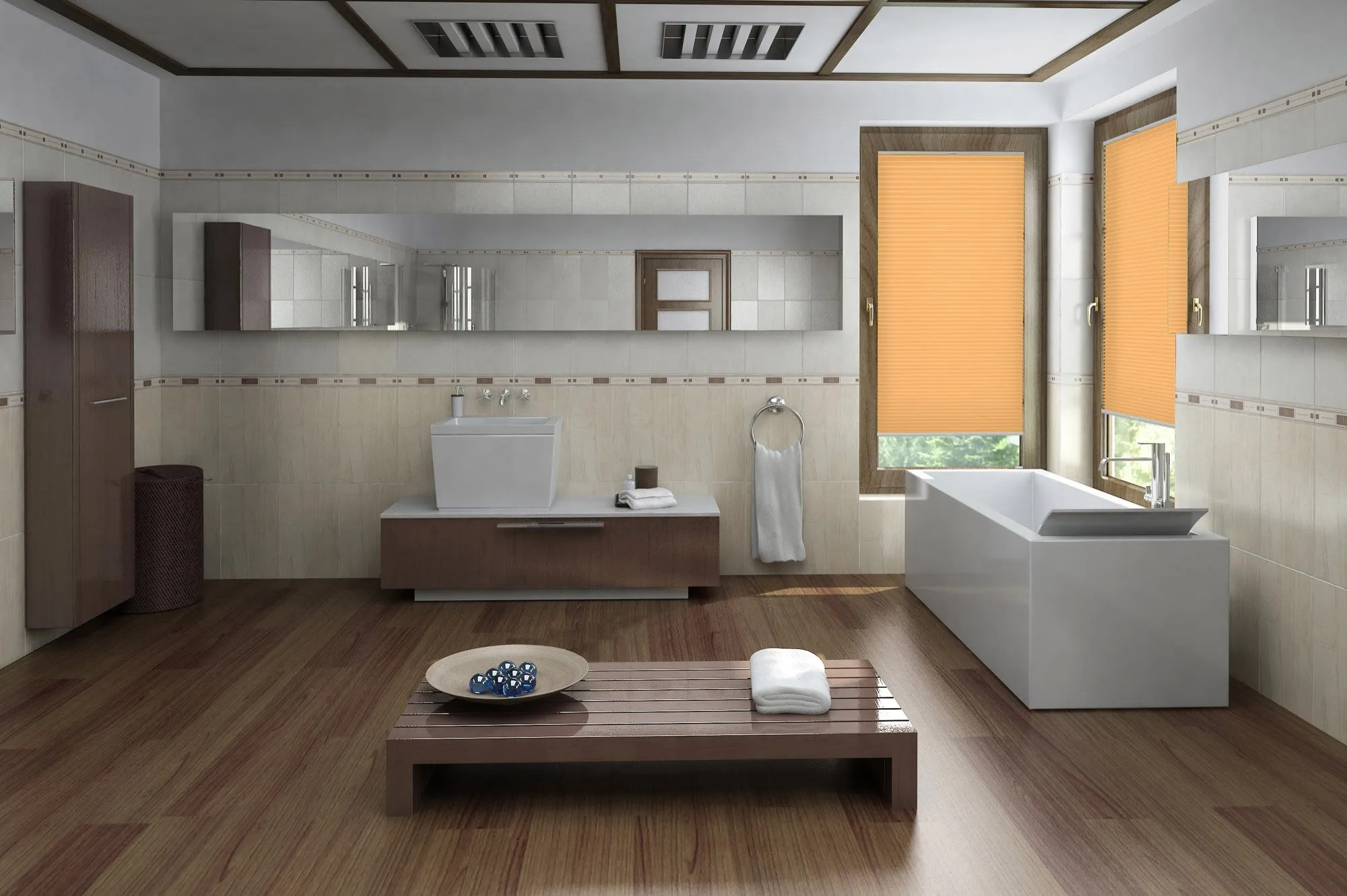 Kleines Bad Modern Plissee Cosiflor Rovereto 1131 In Orange Plissee Experte De