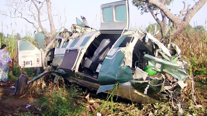 Wreckage of the aircraft carrying Governor Suntai and five others