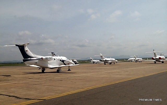 Some Private Jets parked at the Abuja Airport, Nigeria