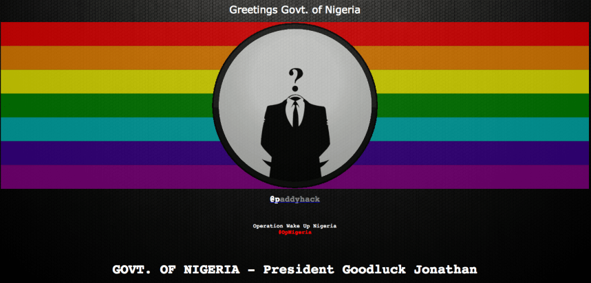 Screenshot of the Nigerian Government Website after it was hijacked