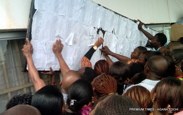 FILE PHOTO: Thousands of young Nigerians jostled for 11 job positions in UNTH Enugu, South East Nigeria