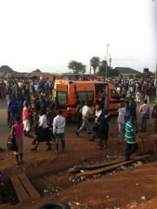 Ambulance moving victims to hospital