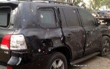 The black Jeep,in whcih Gen Buhari was targeted in the suicide bomb blast in Kaduna yesterday.photo GARBA MUHAMMAD
