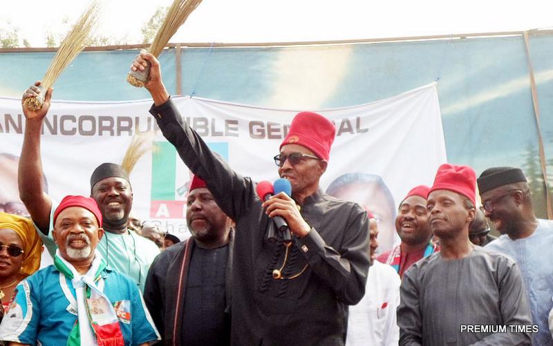 Muhammadu Buhari and Prof. Yemi Osinbajo at  APC Campaign In Awka, Anambra  State
