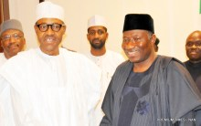 President Goodluck Jonathan and President-Elect General Muhammadu Buhari during their meeting today at the Aso Villa