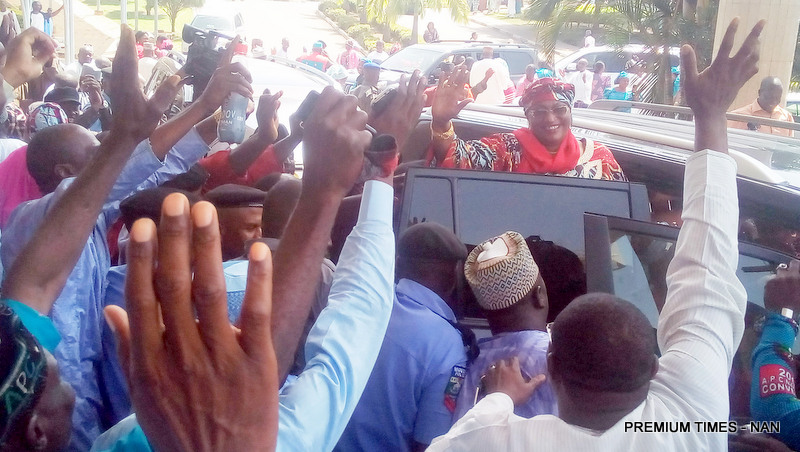 A Minister-Designate and Apc Governorship Candidate for Taraba, Sen. Aisha Alhassan, acknowledging Cheers from her Supporters after the Election Tribunal declared her Winner of the 2015 Taraba Governorship Election, in Abuja