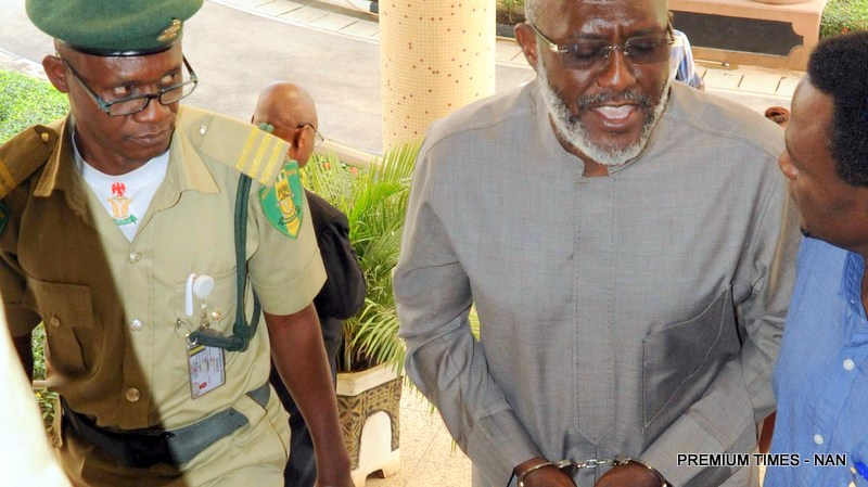 FILE PHOTO: The National Publicity Secretary of PDP, Mr Oilsa Metuh, at the Federal  High Court, where he is Standing Trial over Alleged N400m Fraud in Abuja