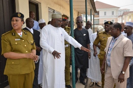 NDLEA Chairman Mohammad Abdallah addressing the Director  Operations Mr Mabo Olugbenga and the DG Roli Bode-George during the tour  of  facilities at the headquarters