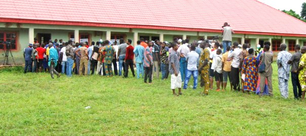Voters queuing to vote at the Edo election