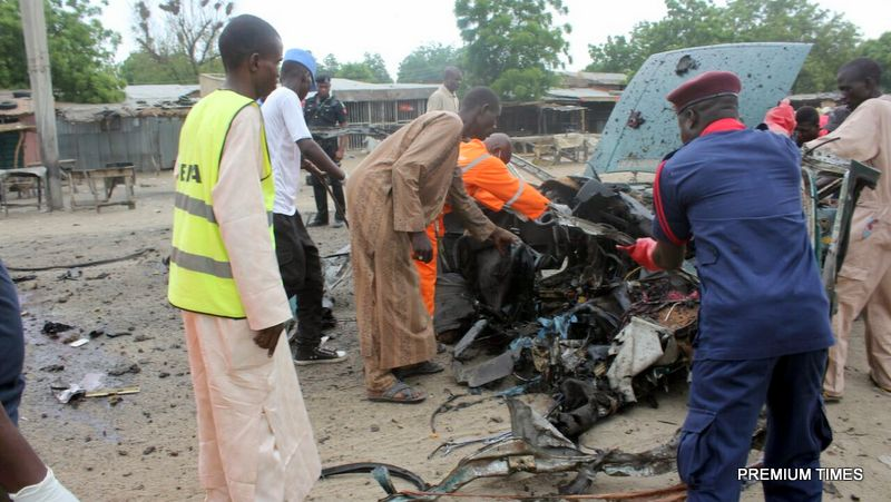 Scene of bomb blast that occurred in early hours of today at Muna Garage, Maiduguri Ngala Road Borno State.