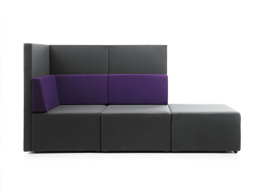 Lounge L Shape Low Back Sofa With Pouffe