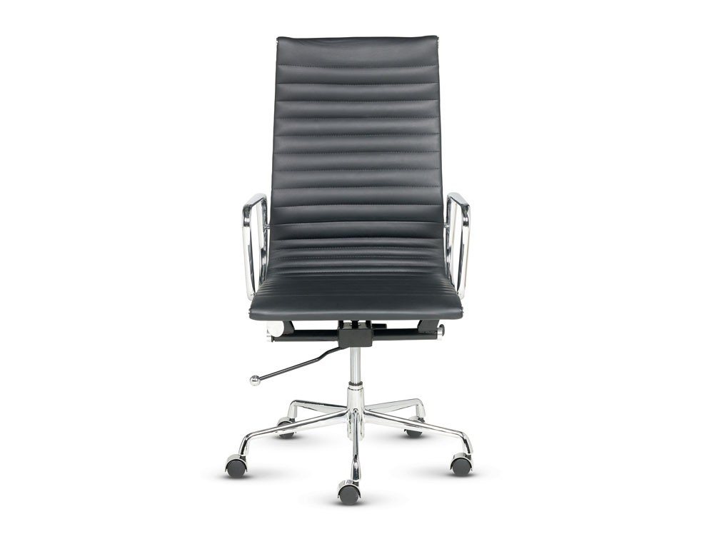 Libra High Back Swivel Armchair In Black Leather