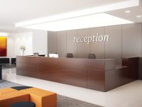 Ashford Reception Corner Metal Desk in Walnut | Radius Office