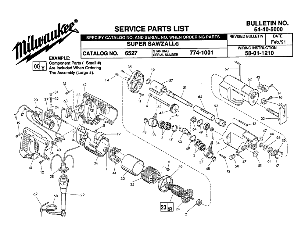 unit parts diagram and parts list for milwaukee sawparts model 6527