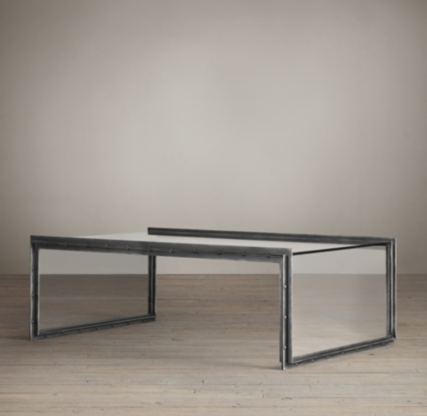 Mesas De Centro Bajas Waterfall Glass & Iron Coffee Table