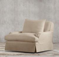 Belgian Classic Roll Arm Slipcovered Swivel Chair