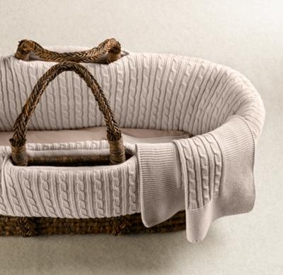 Cable Knit Moses Basket Bedding Espresso Basket Set