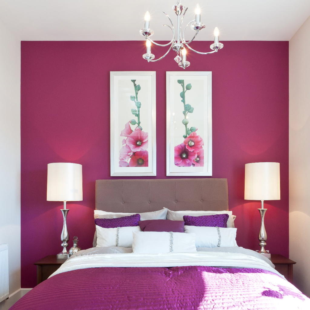 Purple Red And White Bedroom Home Decorating Ideas