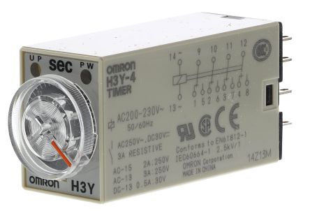 H3Y-4 AC200-230 30S Omron ON Delay Single Timer Relay, 1 → 30 s