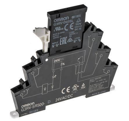 G3RV-SL500-D 24VAC/DC Omron 3 A SPST Solid State Relay, DIN Rail
