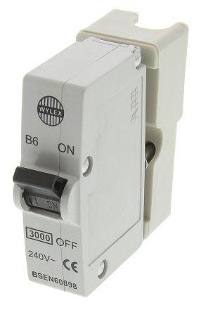 RS/B6 Wylex 6A 1 Pole Type B Miniature Circuit Breaker Plug In B