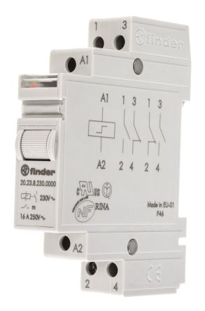 202382300000 DPST DIN Rail Latching Relay 16 A, 230V ac RS