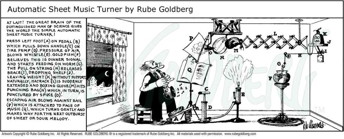 Automatic Sheet Music Turner Rube Goldberg