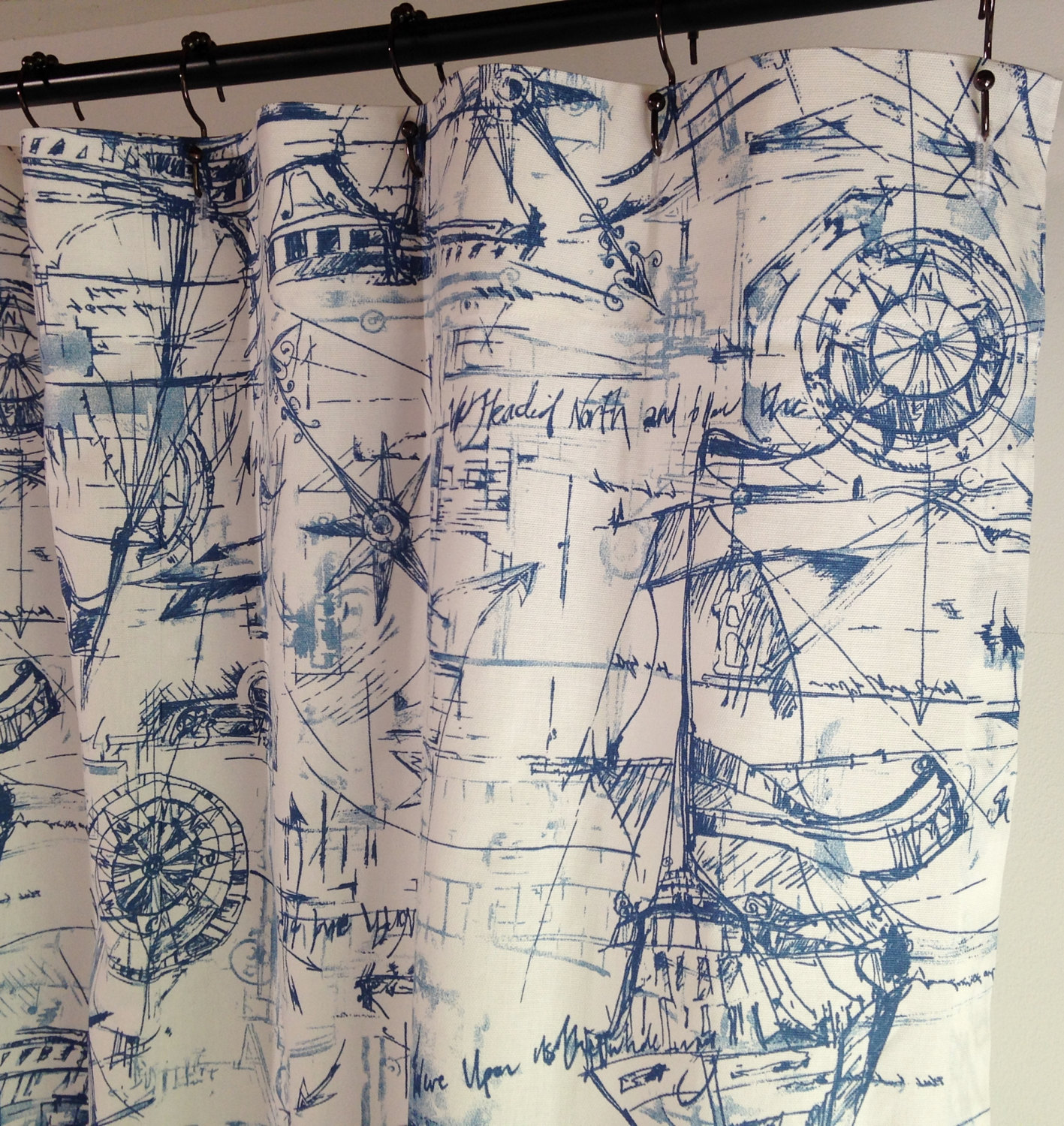 Nautical Fabric Shower Curtains Beachhouse Shower Curtain Schooner Nautical Long Shower Curtain Long Shower Curtain 72 X 84 72 X 90 72 X 96