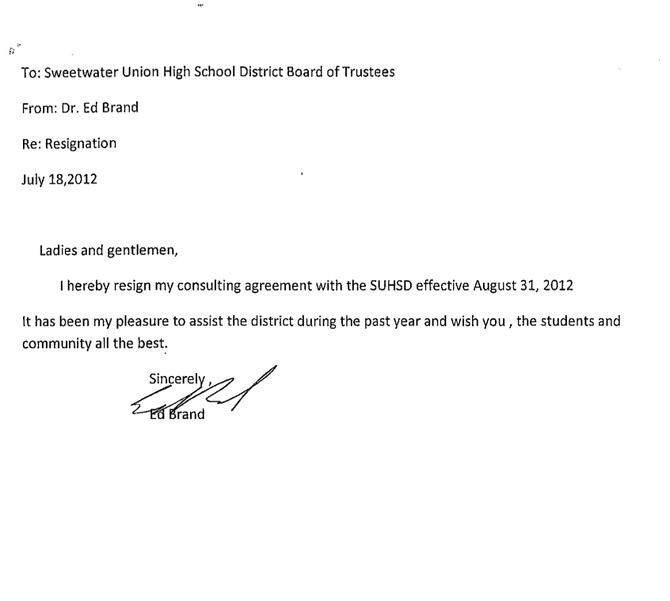 Sample Templates Sweetwater Interim Superintendent Ed Brand Resigns San