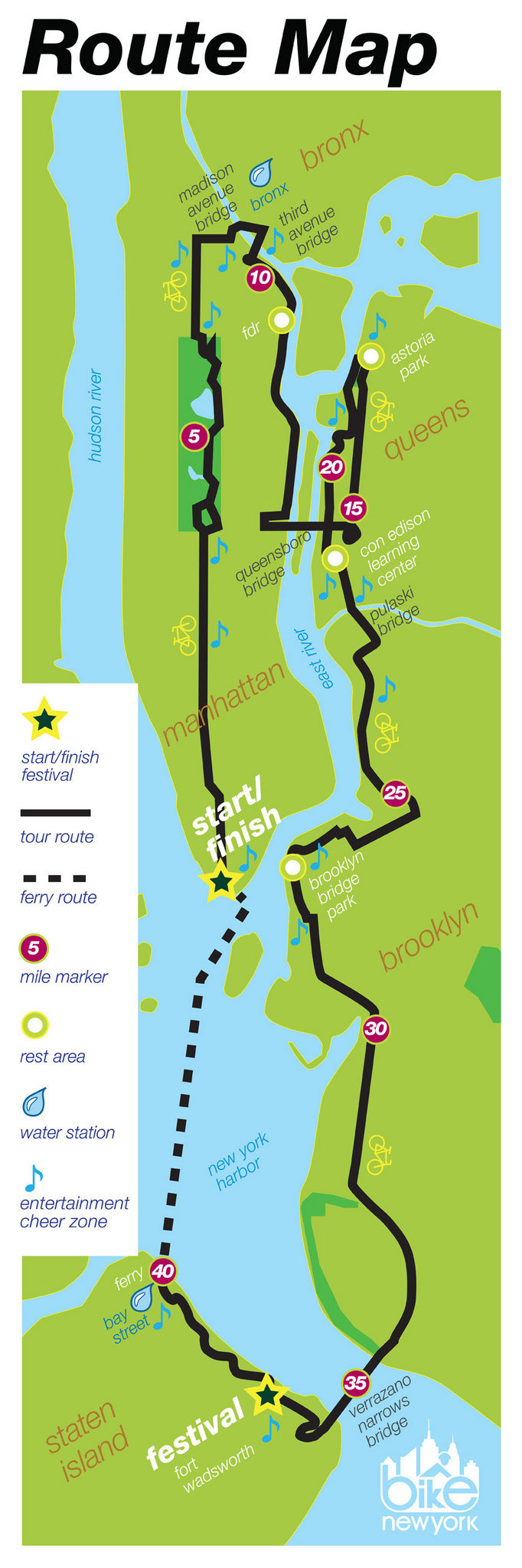 Td Five Boro Bike Tour Route Map Find Your World