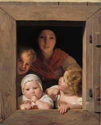 Junge Buerin mit drei Kindern im Fenster (M+) | DIE ...