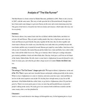 Essay For Kite Runner