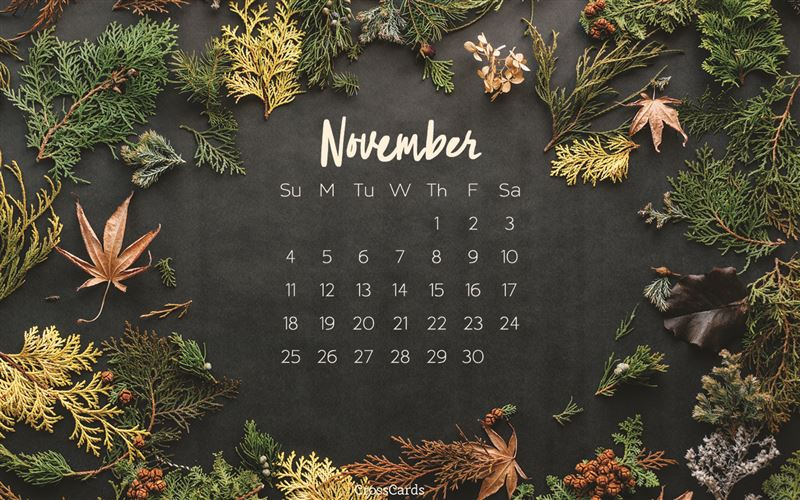 November 2018 - Autumn Desktop Calendar- Free November Wallpaper