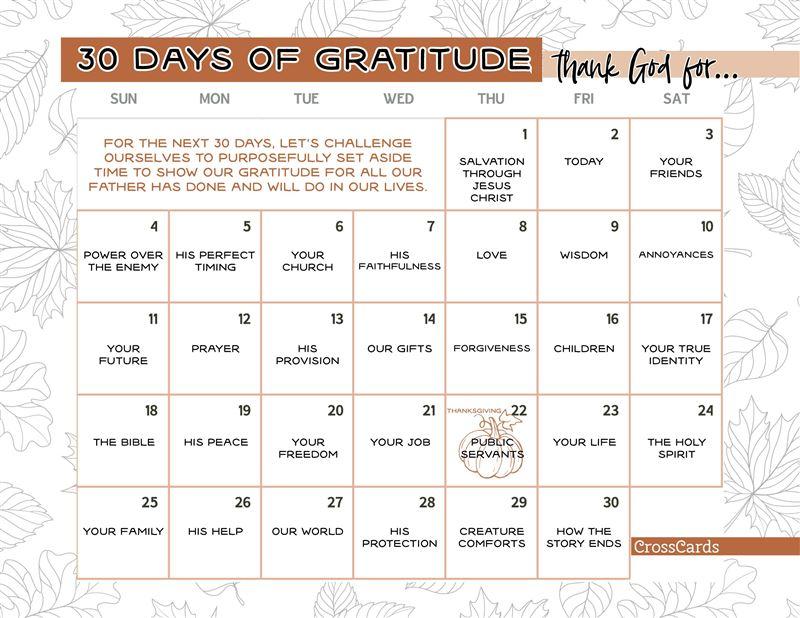 30 Days of Gratitude Printable - Download Free