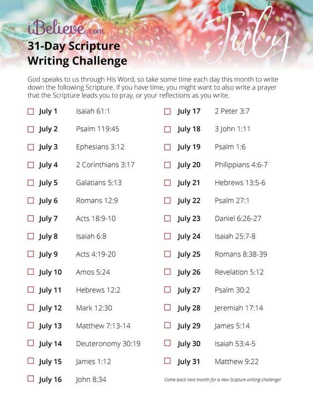 July Scripture Writing Guide - Download Free Printable! - 24 day challenge guide