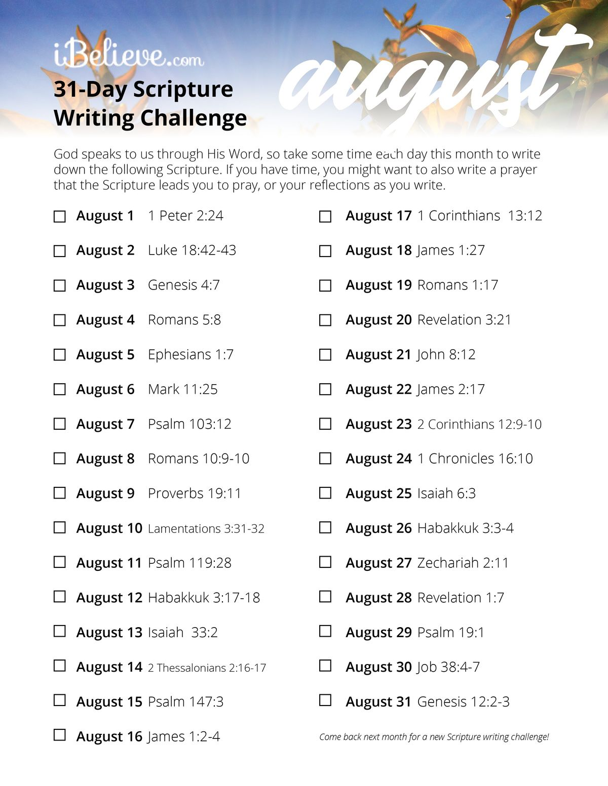 Writing Guide August Scripture Writing Guide Download Free Printable