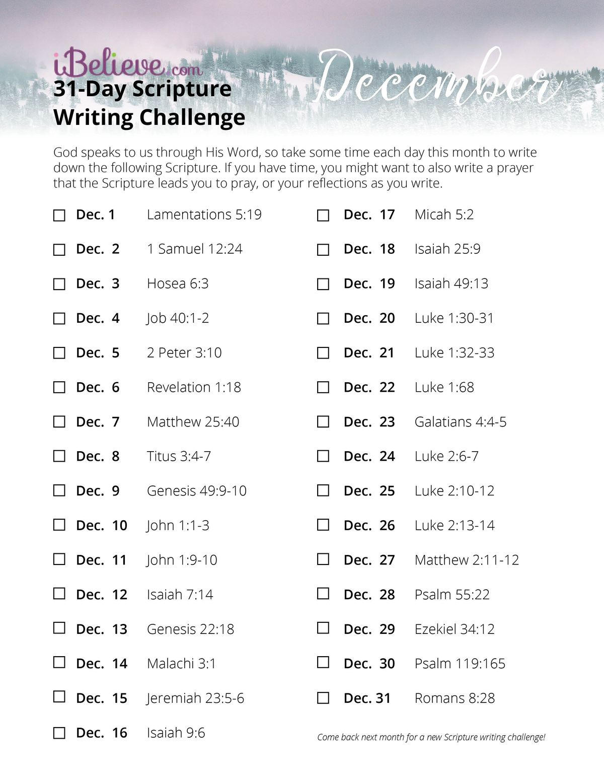 Writing Guide December Scripture Writing Guide Download Free Printable