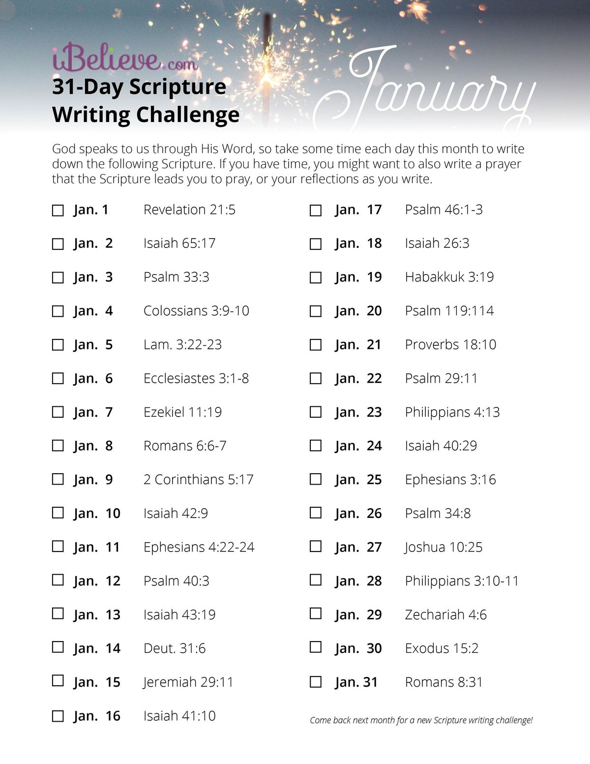 Writing Guide January Scripture Writing Guide Download Free Printable