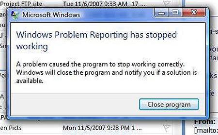 Windows Vista \u201cWindows Problem Reporting Has Stopped Working