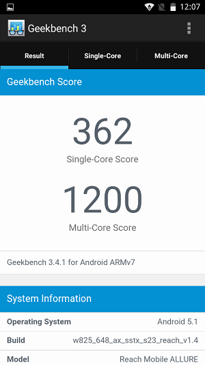 Reach Allure Geekbench