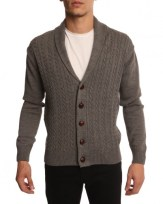 Cardigan en laine col châle gris chiné « Menlook label », 76.00€